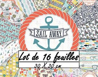 "Lot 16 leaves 30.5 X 30.5 cm ""SAIL AWAY"" paper scrapbooking (ref.110) *."