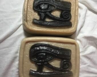 Eye of Horus Soap- Novelty Soap- Bar Soap- Ancient Egypt- Charcoal Soap- Oatmeal Soap- Exfoliating Soap- Unique Soap- Goth Soap