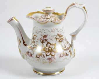 Old Paris Personal Teapot Single Serve Gold Floral 6 oz Creamer Antique