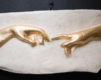 The Creation of Adam, hands detail