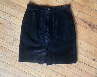 Retro Black Suede Skirt Fully Lined