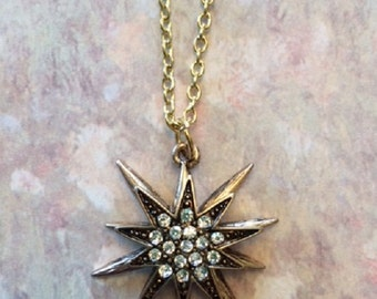 Star Necklace - Star Necklace Gold - Star Jewelry - Star Pendant - Antique Gold Necklace - Antique Gold Jewelry - Rhinestone Necklace - Gift