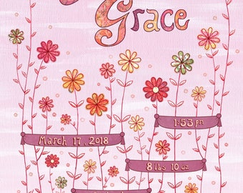 Personalized Flower Collage, Pink