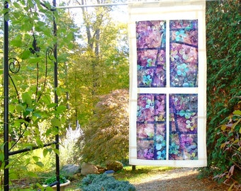 Vintage Window ~ Bleached and Distressed Stained Glass Look Fabric Pojagi Window Treatment / dorm / cafe curtain / watercolor curtain