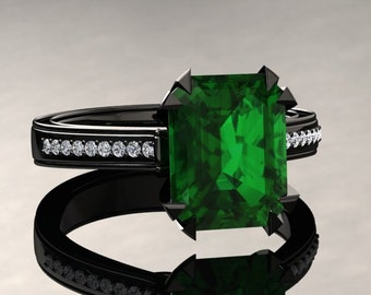 Emerald Engagement Ring 2.00 Carat Emerald Cut Emerald And Diamond Ring In 14k or 18k Black Gold. Matching Wedding Band Available W13GBK