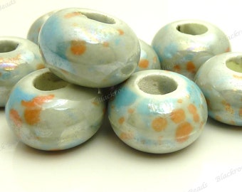 15mm Silvery Gray Pearlized Porcelain Rondelle Beads - 8pcs - 6mm Bead Holes, Brushed Sky Blue and Orange Beads - BQ18