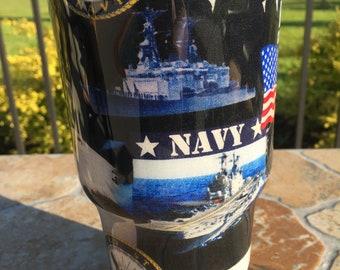 U.S. Navy Theme Stainless Steel 30 oz Tumbler Epoxied