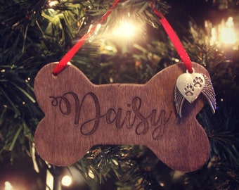 Engraved Pet Memorial Ornament Rustic Wood