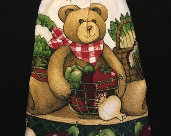 Teddy Bear with Veggies Double Sided Kitchen Hand Towel Black 4
