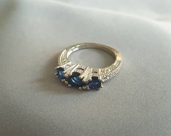Sapphire and Sterling Silver Ring September Birthday Anniversary Special Occasion