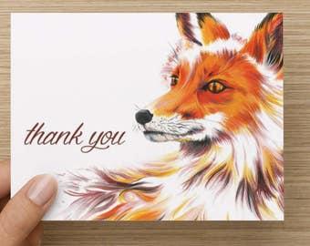 "Fox Greeting Card - Set of 20 5.5x4"" Flat Notecards with Envelopes"