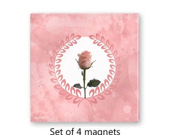 Pink fridge magnets, floral magnet set , rose refrigerator magnets, set of 4 decorative magnets, kitchen decor, art magnets
