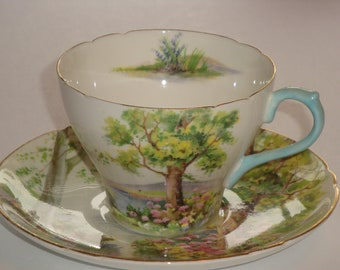 Shelley England WOODLAND Tea Cup and Saucer New Cambridge Shape Pattern #13348