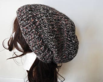 Large Hand Knit Slouchy Beanie - Dark Gray, Light Gray, Pink