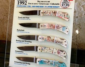 1992 Olympics Knife Display / Barcelona / Commemorative Sabre Pocket Knives Collection
