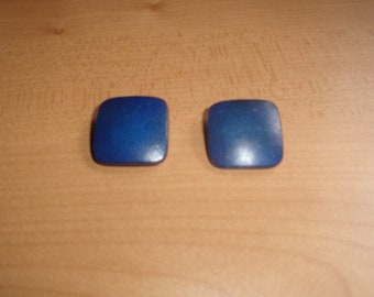 vintage clip on earrings blue lucite