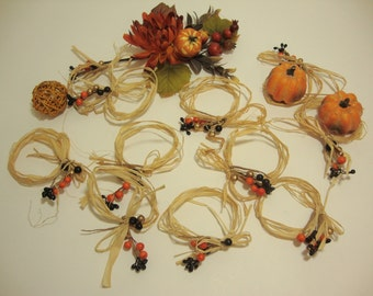 Artificial Autumn Berries with Raffia. Fall Floral Ornament. Set of 20 Pieces.