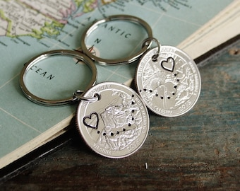 Quarter Keychain Set, Boyfriend Girlfriend Keychains, Long Distance Relationship, State to State, Couples Gift Set, Valentines Day Gift