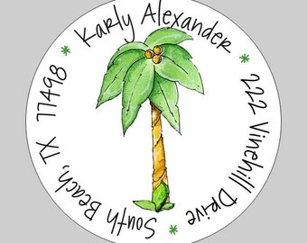 40 Personalized Palm Tree Beach Address Labels