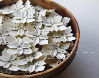100 wedding petals | wedding flower | book page petal confetti || origami flowers ||| paper flowers | wedding favors -book pages