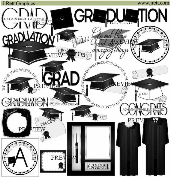 School Graduation clipart, MORE COLORS, Black Silver clip art, grad ...