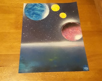 the 2 yellow moons spray paint art
