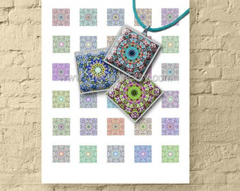 Kaleidoscope Squares / 1x1 Inch Size Printable Square Images / Digital Collage Sheet for Crafts, Pendants, Scrapbooks // Instant Download