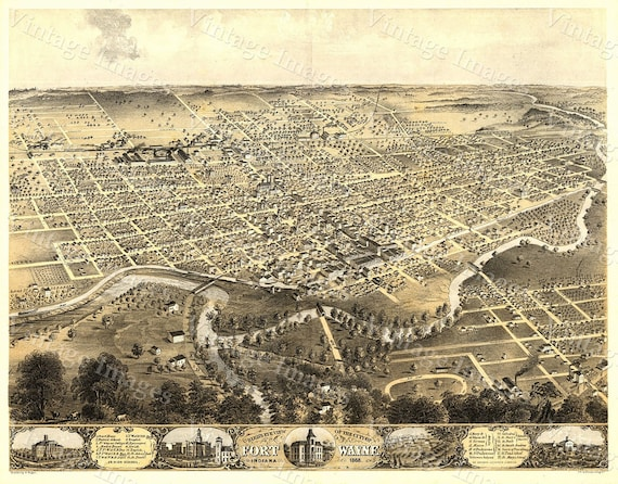 Old Map of Fort Wayne Indiana 1868 Map Antique Restoration Decor Style Fort Wayne Map Fine art Wall Map Print Poster Old Indiana Map