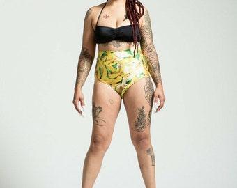 Extended Sizing Happy Banana High Waist Bikini Bottom Pinup Style