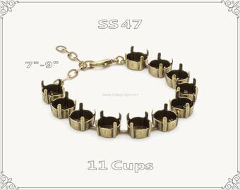 1 pc.+ 11 Cups, SS47 Empty Cup Chain for Bracelet - Antique Brass Color