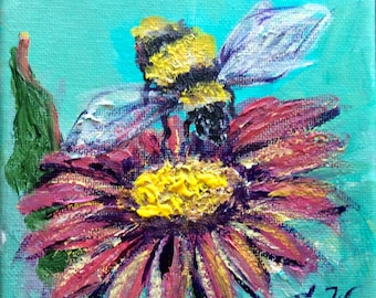 """Bee with flowers painting original art 5 x 5"""""""