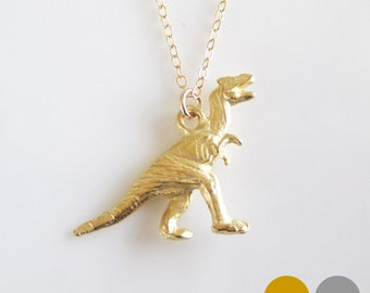T-Rex Dinosaur Necklace- Sterling Silver Dinosaur Necklace- Gold Dinosaur Necklace- Dino Necklace- Dinosaur Charm Necklace- NGS-DINO2