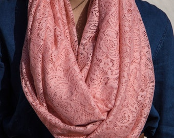 Blush Lace Infinity Scarf