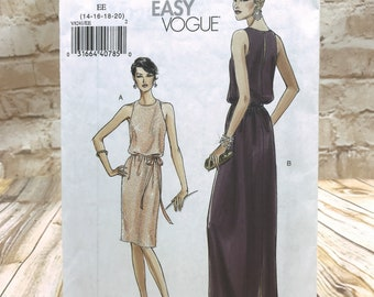 Very Easy Vogue 8241 Womens Petite Pullover Lined Formal Evening Dress in 2 Lengths with Belt Size 14 20 Uncut Sewing Pattern