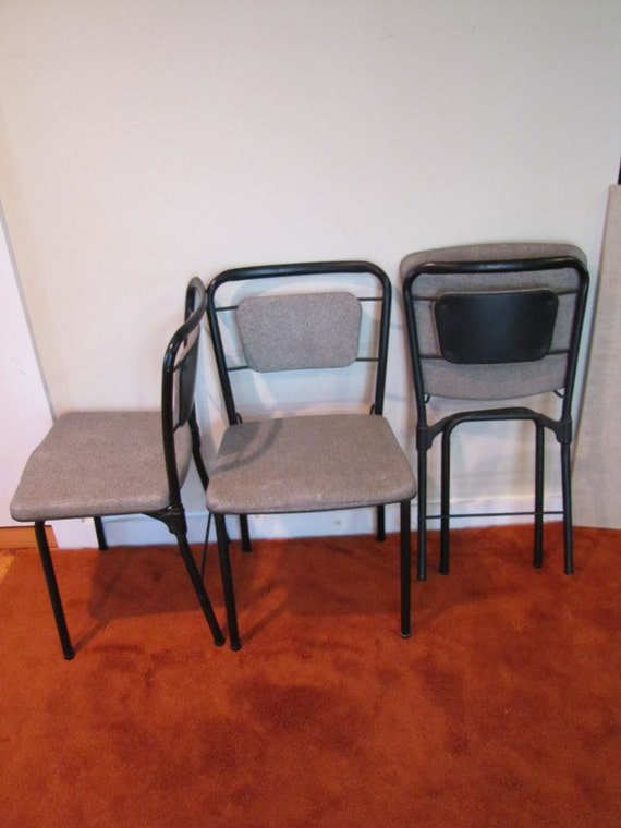 Vintage Hamilton Cosco Folding Chairs Set Of 3 Gate Leg Fold