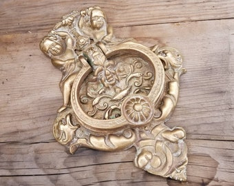 Large Vintage Ornate Cast Brass Cherub Angel Door Knocker