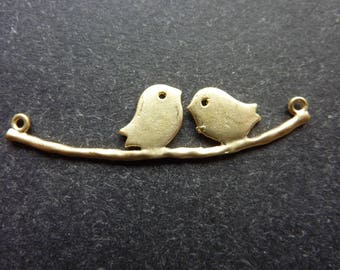 10 connectors birds on a branch color gold 43 * 11 * 1 mm