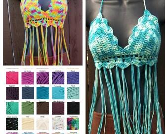 Crochet Bikini Top Crochet Fringe Bikini Top Halter Boho Top Bohemian Gypsy Tribal Hippie Top Rainbow Top Beachwear Cotton - MADE TO ORDER