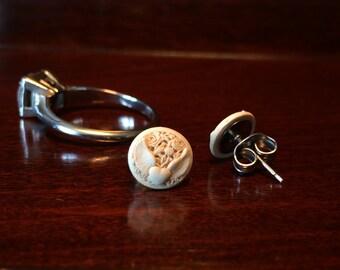 Winged Heart stud earrings