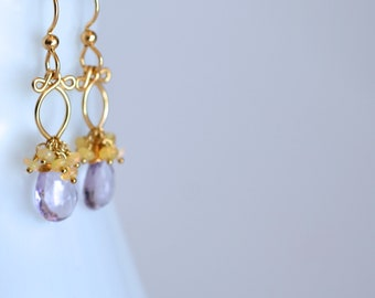 Boucles d'oreilles de Lana - améthyste, Ethiopian Opal 14k Gold Filled boucles d'oreilles || Améthyste Dangles || Opale Dangles || Boucles d'oreilles Pierre de naissance de février