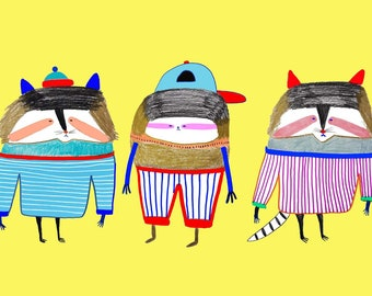 Raccoons and Sloth. childrens wall art - kids prints - art - nursery decor - childrens illustration - art print.