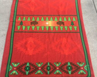 Fleece Indian blanket,Red,green, Buffalo blanket