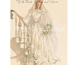 Wedding 13 Beautiful Bride on a Staircase a Digital Image from Vintage Greeting Cards - Instant Download