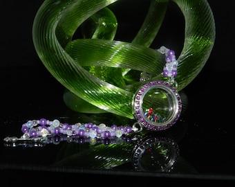 CLEARANCE *FT327 Purple Beaded Floating Charm Bracelet