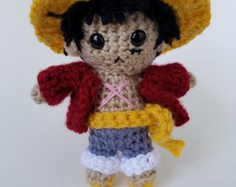 "Amigurumi Luffy-inspired 6"" crochet doll"