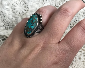 Sz 7 Turquoise and sterling silver triple band ring