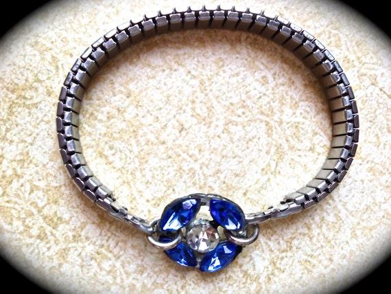 Sapphire Blue Rhinestone Watchband Bracelet- Something Blue Bracelet- Assemblage Handmade Bracelet- Cobalt Blue- Stretch band