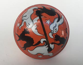 1950s Halloween Tin Litho Black Cats and Ghosts Rattle Noisemaker