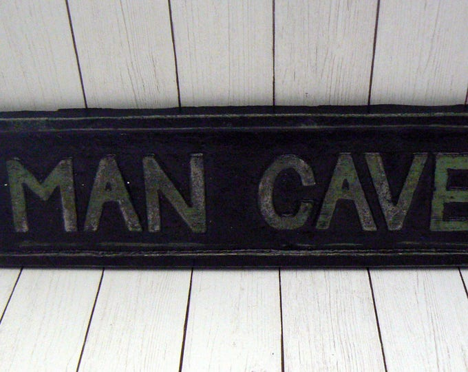 """Man Cave Sign Plaque 8"""" 1/4 x 2"""" 1/8  Mancave Black w/ Letters Patina Color Variegated Gold Highlights Man Room"""