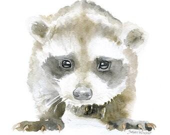 Baby Raccoon Watercolor Painting - 11 x 14 - Giclee Print - Nursery Art